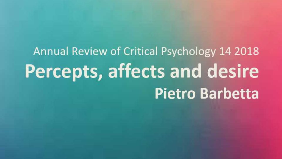 Percepts, Affects and Desire Pietro Barbetta